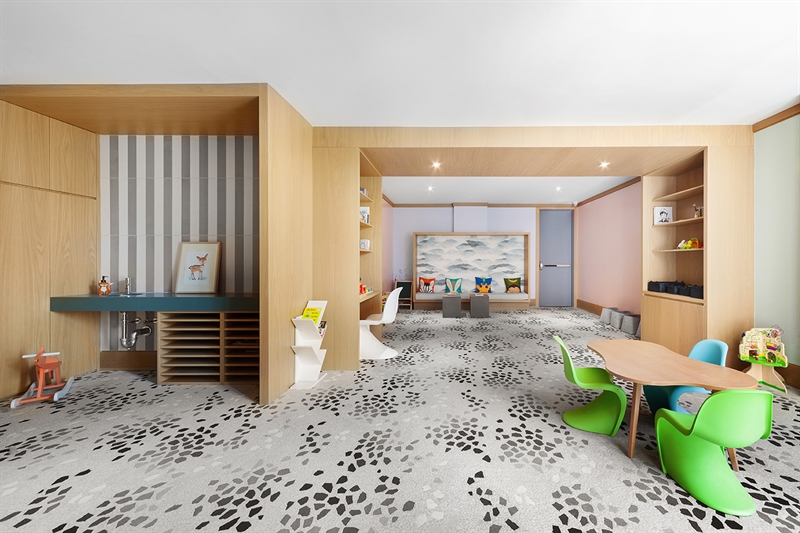 The children's playroom is a welcome plus for parents, caregivers, and children alike.