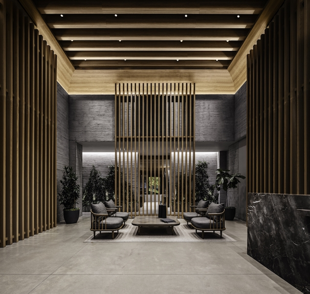 The lobby is reminiscent of an ancient Japanese temple with sightlines to Grove Place that provide a glimpse of the outdoors.