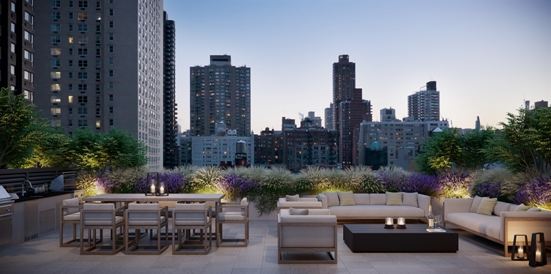 Rooftop lounge with East River views