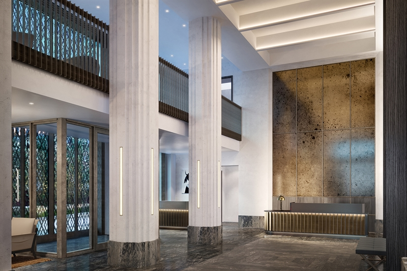 Emulating the splendor of nearby Butler Library at Columbia, the inspired lobby infuses timeless design elements with modern grace.