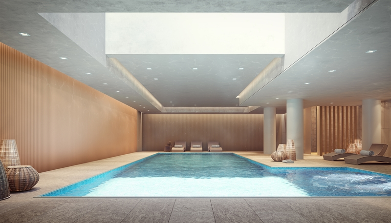 The 40-foot, luminescent indoor pool is the perfect place to refresh and revive after a day in the city.