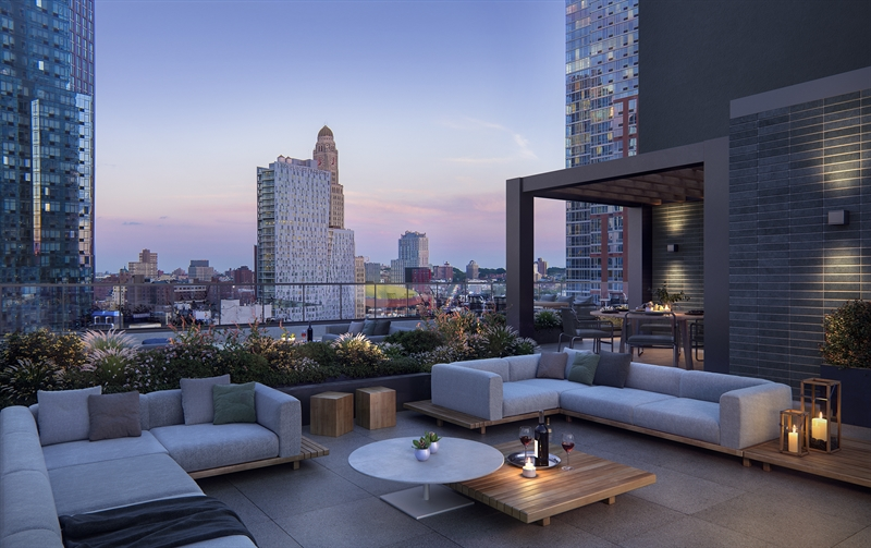 The Roof Deck delivers idyllic views of Fort Green Park and the brownstones nearby.