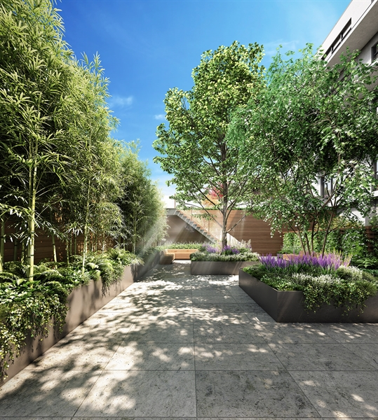 Thoughtfully conceived by landscape architect Steven Yavanian, the courtyard and Zen Garden were designed to capture the restorative quality of Brooklyn's green spaces just moments away.