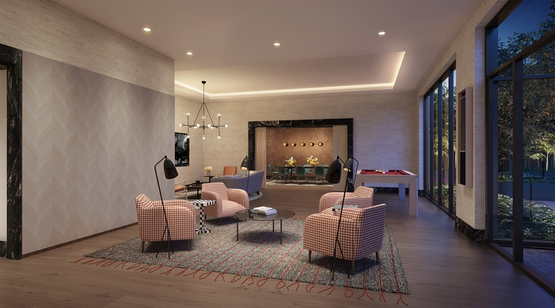 The first floor Arboretum level offers a series of spaces designed for modern living: relax in the lounge, host dinner in the private dining room or take a stroll in the central courtyard.