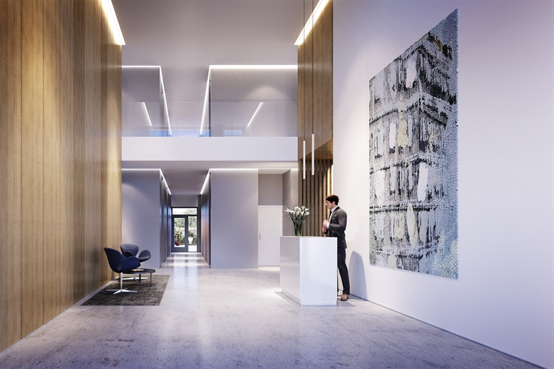 The dramatic, double-height lobby includes a 24 hour attended entry