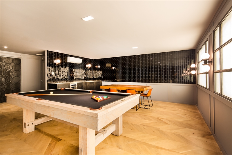 Vibrant social lounge with pool table
