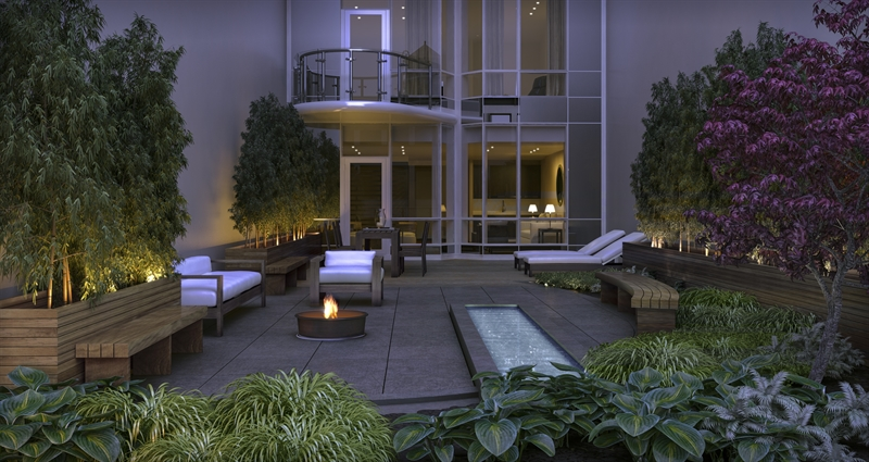 A private half-floor lounge with an outdoor landscaped garden serves as a retreat for residents.